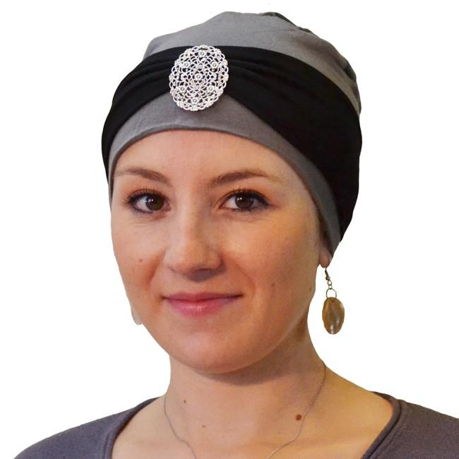 bandeau loubna noir argent turban
