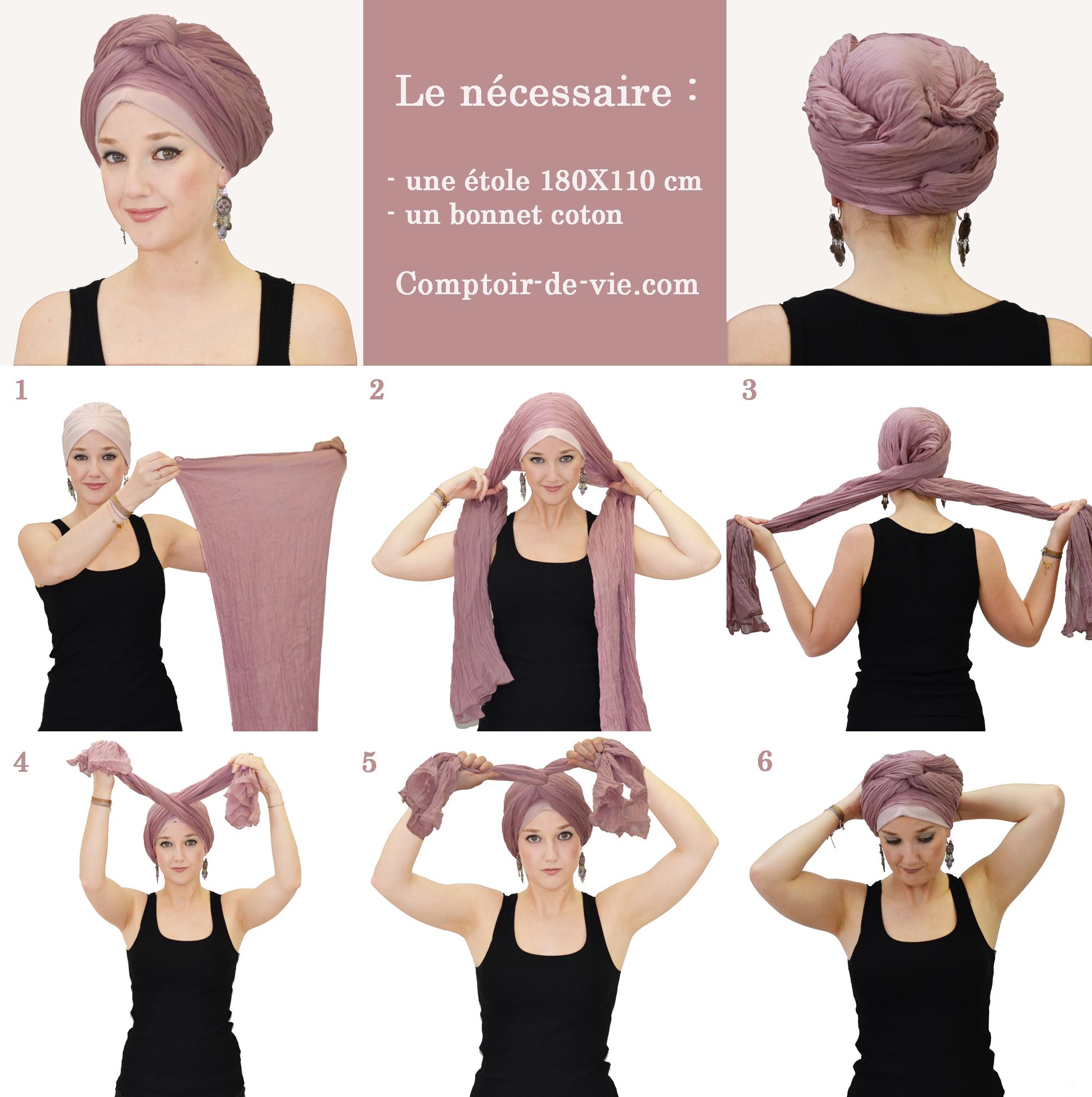 8a2541cd44e Nouer un foulard sur la tête - façon turban