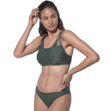 Maillot de bain une pièce pour prothèse mammaire noir pailleté - Maya vert - Marli Paris