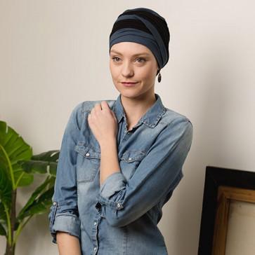 Turban bambou Agate bicolore bleu pétrole / noir Comptoir de Vie