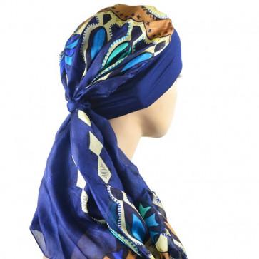 Turban Alissa bleu marine en soie - Look Hat Me