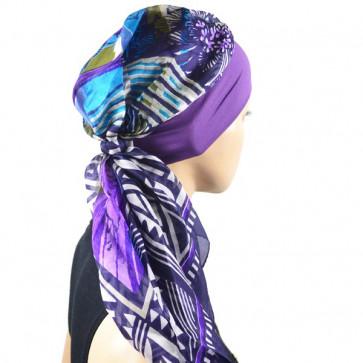 Turban Alissa violet en soie - Look Hat Me
