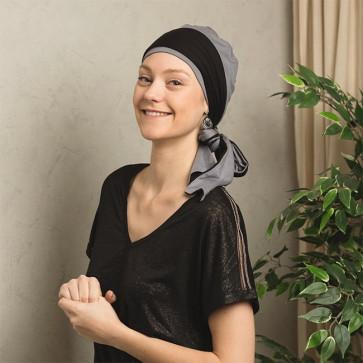 Foulard préformé Athéna gris bandeau réversible gris/noir - Comptoir de Vie