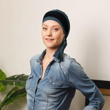 Foulard préformé Athéna bleu pétrole bandeau réversible bleu/noir - Comptoir de Vie