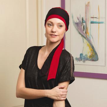 Foulard préformé Athéna rouge bandeau réversible rouge/noir - Comptoir de Vie