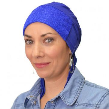 Bandana préformé pailleté - bleu
