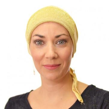 Bandana préformé avec paillettes - jaune pâle