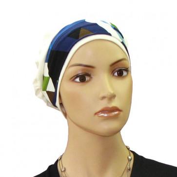 Bandeau à cheveux Ida Géométrie bleu