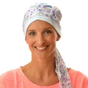 Bandeau à fleur amovible HANA - Violet et Bleu (Turban)