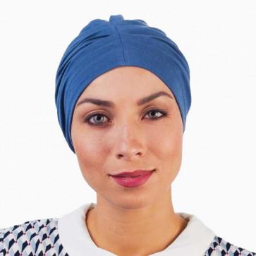 Bonnet de nuit coton drapé bleu pétrole - Comptoir de Vie