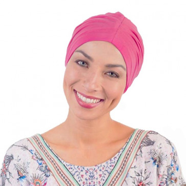 Bonnet de nuit coton drapé Fushia - Comptoir de Vie