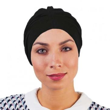 Bonnet de nuit coton drapé Noir - Comptoir de Vie