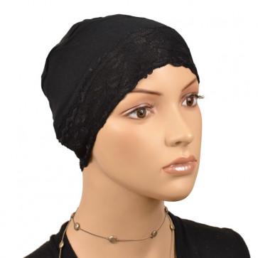 Bonnet de nuit dentelle Noir