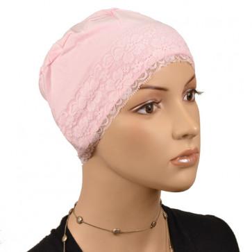 Bonnet de nuit dentelle rose