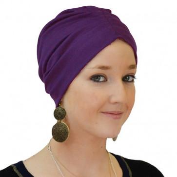Rosalie Rose - Bonnet de nuit coton drapé violet