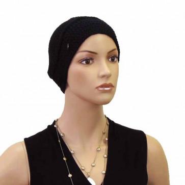 Bonnet en maille épaisse tricotée noir - Seeberger