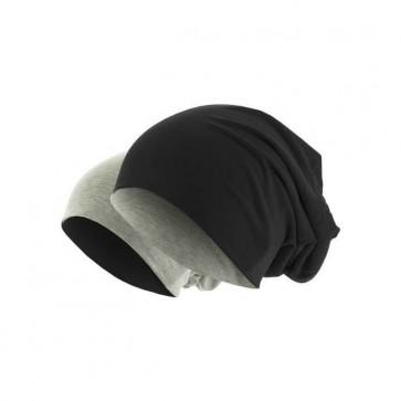 bonnet homme réversible noir/gris chiné - Masterdis