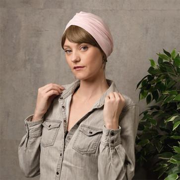 Bonnet de nuit coton drapé rose clair