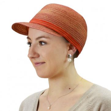 Casquette rayée orange - Seeberger