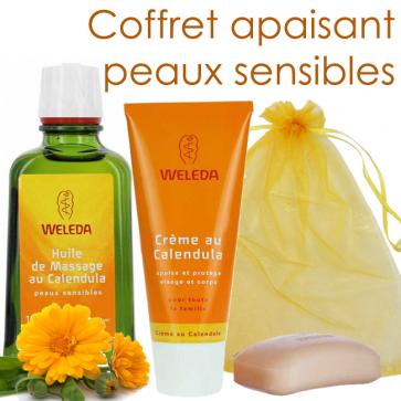 Coffret apaisant peaux sensibles - 1 crème calendula + 1 huile calendula + 1 savon calendula - Weleda