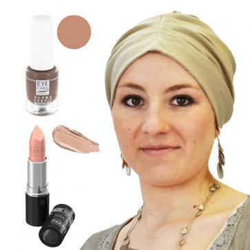 Coffret Coquette et féminine : 1 bonnet Beige + 1 vernis Praline + 1 Rouge à lèvres n°13