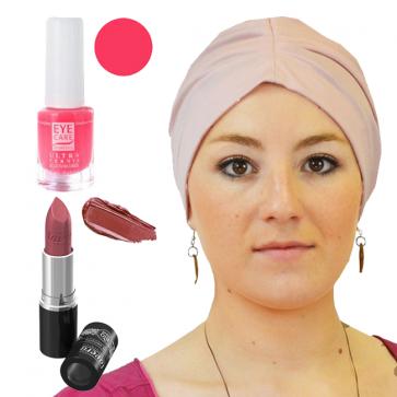 Coffret Coquette et féminine : 1 bonnet rose + 1 vernis Candy + 1 Rouge à lèvre n°12