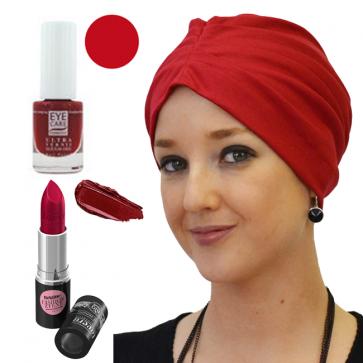Coffret Coquette et féminine : 1 bonnet rouge + 1 vernis Groseille + 1 Rouge à lèvre n°14