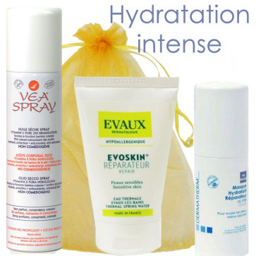 Coffret Hydratation Intense - 1 Evoskin crème + 1 Purmasque Dermatherm + 1 VEA Spray