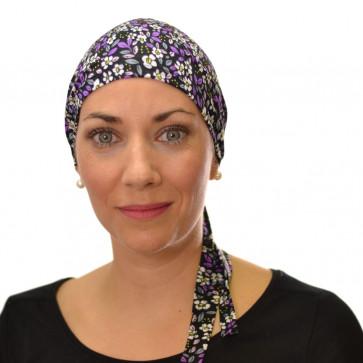 Bandana chimio léger violet-Fleur violette
