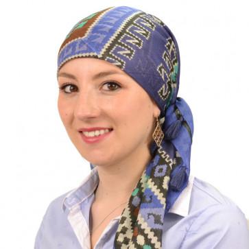 Foulard carré chimio Bana - Bleu