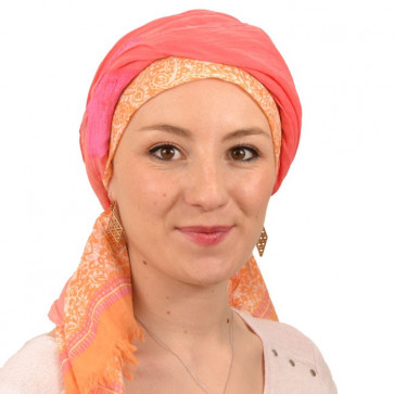 Foulard carré chimio Corail et Orange clair