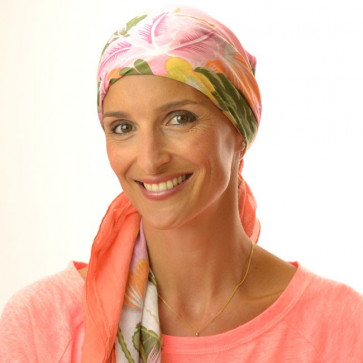 Foulard carré chimio Flower - Orange et Rose