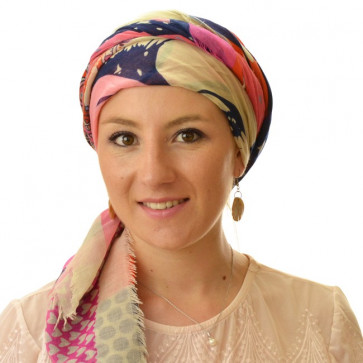 Foulard carré chimio Peace And Love - Rose