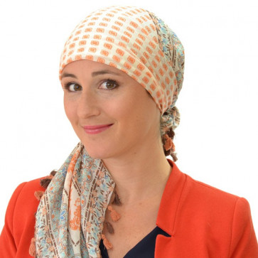 Foulard carré chimio Rumbai - Orange/Marron