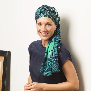 Foulard carré à nouer Guépard bleu vert - Comptoir de Vie