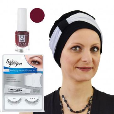 """Coffret """"Jolie pour les fêtes"""" - 1 turban lys noir/blanc + 1 kit faux cils + 1 vernis belcanto"""