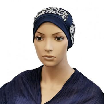 Turban Lys bleu pétrole bandeau blanc - Comptoir de Vie
