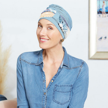 Turban Lys bleu ciel - bandeau floral - Comptoir de Vie