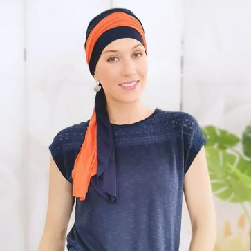 Foulard à nouer Leslie marine/orange - MM Paris