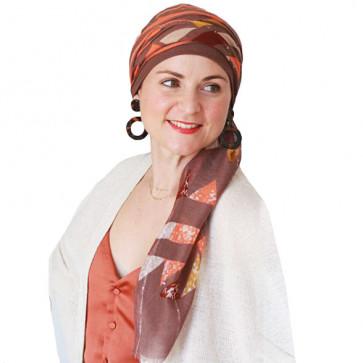 Foulard chimio New Delhi Fantaisie - Marron rayé orange - Look Hat Me