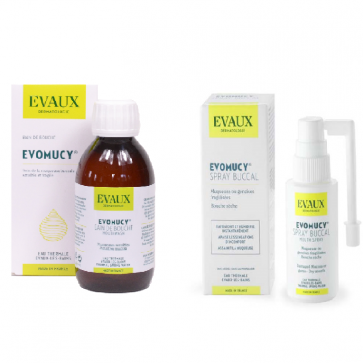 "Pack ""soin de bouche"" : 1 Evomucy bain de bouche + 1 Spray Evomucy - Laboratoires Evaux"