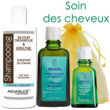 Coffret Soin des cheveux - 1 lotion + 1 huile capillaire Weleda + 1 shampoing Aquasilice