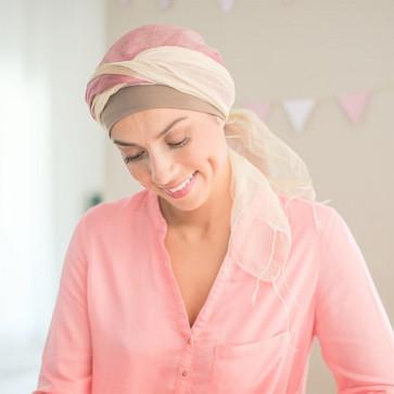 Foulard Sophia beige et rose - Look Hat Me