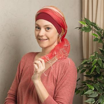 Foulard chimio Sophia Rouge et Orange - Look Hat Me