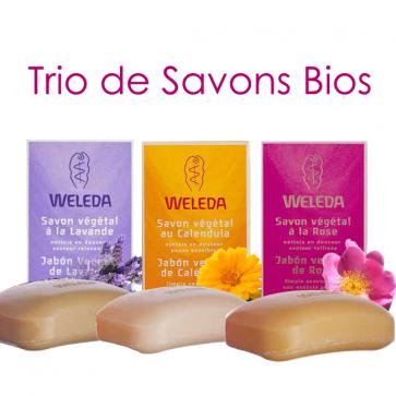 Trio de savons Bios - 1 savon Calendula + 1 savon Lavande + 1 savon Rose