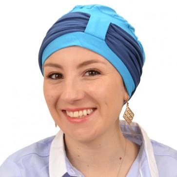 Turban Lys bleu turquoise bandeau bleu pétrole - Comptoir de Vie