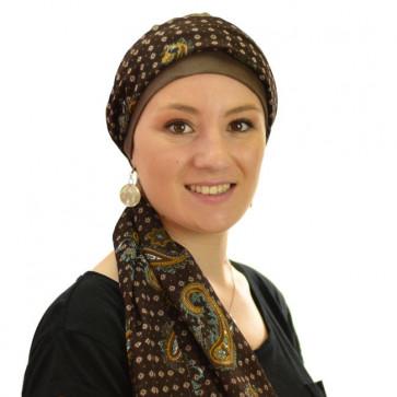 Turban bonnet Riga et son bandeau - Chocolat