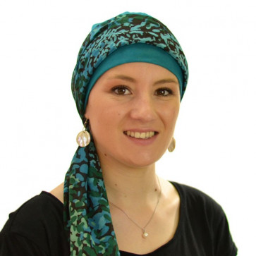 Turban bonnet Riga et son bandeau  - Turquoise