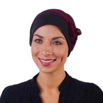 Turban chimio Lolita noir/prune