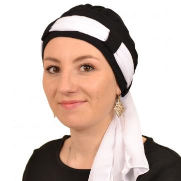 Turban Maya noir bandeau blanc- Comptoir de Vie